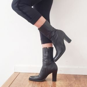 STEVE MADDEN Leather Square Toe Black Boots Size 9